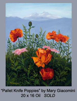 Pallet Knife Poppies by Mary Giacomini